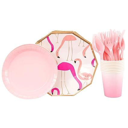BESTOYARD Juego de vajilla Flamingo Party Juego de Platos ...
