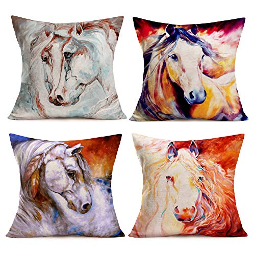 (Throw Pillow Covers Beautiful Ink Painting Hand Style Watercolor Horse Animals Decorative Pillow Cases Cotton Linen Cushion Cover Home Decor Square 18x18 Inches Set of 4 Pillowcase (Oil Horse)