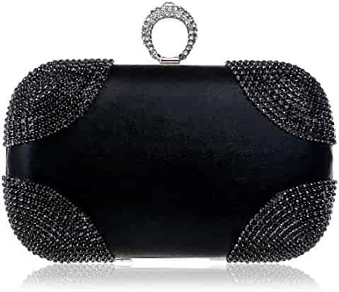 c1cc99eb510f7 EPLAZA Women Rhinestone Beaded One Ring Evening Clutch Bags Handbags Bridal  Wedding Party Purse