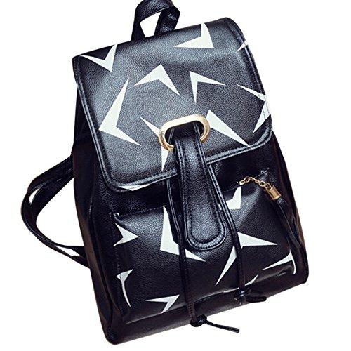 Hot Sale School Bag,Han Shi Girls Leather Travel Backpack Vantage Floral Print Rucksack (D, L)