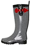 Capelli New York Ladies Shiny Big Chevron Printed Rain Boot Black Combo 9