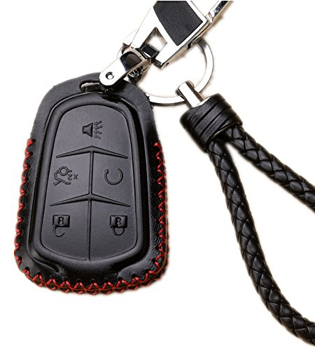 WAFERN Leather Car Remote Key Fob Holder Case Cover Etui Shell with Braided Key Chain & Key Rings for 5 Buttons New Cadillac ESV Escalade GTS CTS XTS SRX ATS XT5 CT6 Auto Accessories Gift in Black