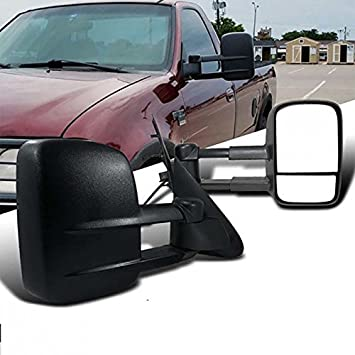 Vioji Pcs Manual Telescoping Folding Black Textured Housing Towing Mirrors For   Ford