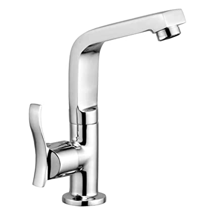Oleanna Angel Brass Swan Neck Pillar Tap with Swivel Spout for Sink and Basin Kitchen and Bathroom (Disc Fitting | Quarter Turn | Form Flow) Chrome