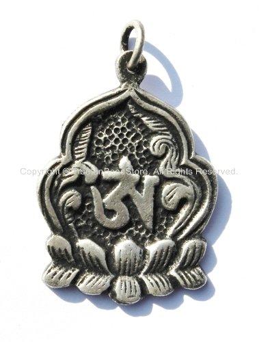 Tibetan Lotus Flower Om Silver Plated Brass Pendant - WM650