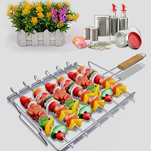 KathShop Grill Rack BBQ Clip Folder Grill Roast Folder Basket Tool BBQ Tool Wooden Handle for shish Kebabs Barbecue -