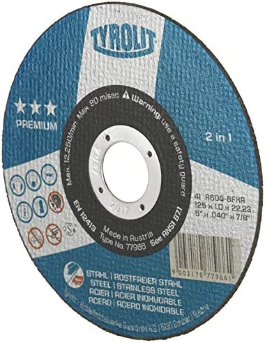 TYROLIT 872348 Cutting disc for Steel /& Stainless Steel 125 mm Pack of 25