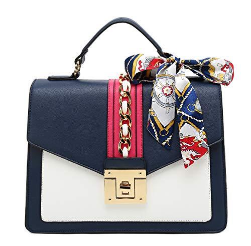 Scarleton Large Top Handle Satchel Handbag for Women, Vegan Leather Crossbody Bag, Shoulder Purse with Removable Adjustable Strap, Navy, H206519