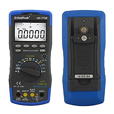 Holdpeak 770E High Performance Auto-Ranging Digital Multimeter With Temperature, Frequency And Data Hold Function Widely Used In Home, School, Chemical Industries
