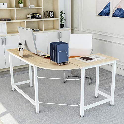 (ModernLuxe L-Shaped Home Office Corner Computer Desk PC Laptop Table Workstation Wood & Metal (Oak) )