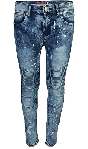 CDB Boys Slim Fit Stretch Fashionable Moto Jeans, Ice, Size 16'