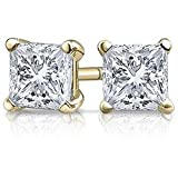 1 Carat 18K Yellow Gold Solitaire Diamond Stud Earrings Princess Cut 4 Prong Push Back (I-J Color, VS1-VS2 Clarity)
