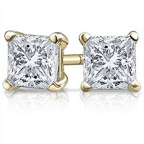 1 Carat 18K Yellow Gold Solitaire Diamond Stud Earrings Princess Cut 4 Prong Push Back (I-J Color, VS1-VS2 Clarity) by Houston Diamond District