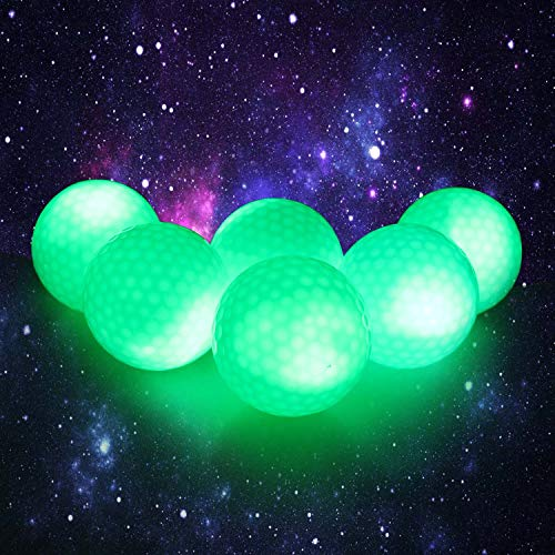 Crestgolf Flashing Glowing Golf Ball,Night Glow Flash Light up LED Golf Ball (6 Pack),six Color for Your Choice (Green) ()
