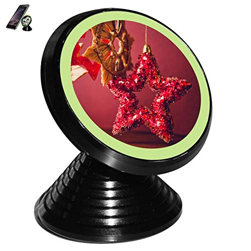 Christmas Red Five-Star Pendant Magnetic Vehicle Mounted Mobile Phone Bracket Holder 360 with Noctilucent Function