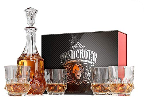 Ashcroft 5-Piece Imperial Whiskey Decanter Set of 4 Old Fashioned, Lowball Glasses and Liquor Decanter with Gift Box, Lead Free Crystal, for Scotch, Bourbon, Rum, Gin, by Ashcroft Fine ()