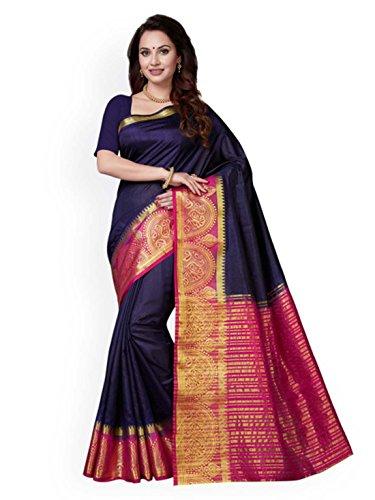 Ishin Silk Saree Design Art Navy amp; Pink Blue Woven RxpnRqrUg