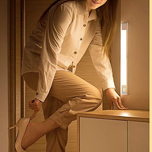 bedee 60 LED Closet Light, Rechargeable Motion Sensor Light,120 °Angle Adjustable USB Under Cabinet Light Wireless Luxury Aluminum Night Lighting for Kitchen Cabinet, Closet, Wardrobe, 2 Sensor Modes