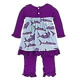 KicKee Pants Little Girls Print Long Sleeve Dress Romper, Pond Whale Shark, 6-12 Months