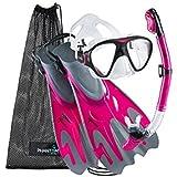 Phantom Aquatics Navigator Mask Fin Snorkel Set, Pink Graphite, Medium/Large(9-12)