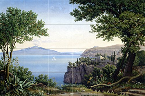 Seascape volcano mountain sea ship trees by Carl Ludwig Rundt Tile Mural Kitchen Bathroom Wall Backsplash Behind Stove Range Sink Splashback 6x4 6'' Rialto by FlekmanArt