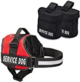 Industrial Puppy Service Dog Vest with Hook and Loop Straps and Detachable Backpacks | Harnesses in 7 Sizes from XXS to XXL | Service Dog Harness Features Reflective Patch and Comfortable Mesh Design