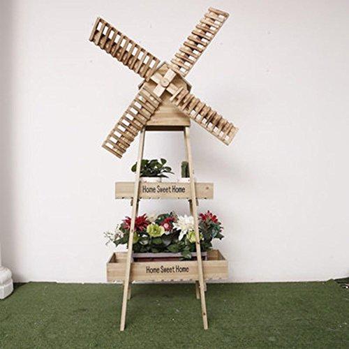 Windmill flower racks/art,[rural],solid wood,rotating windmill flower racks/floor layer showy-A by SHDUAYGSCXS (Image #3)