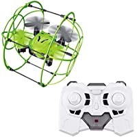 RC Quadcopter Helicopter Mini Drone Helic 1336 MINI Sky Walker RC Four-axis Quadcopter 3D Flip Climbing Wall Roller Headless Drone RC toys(USB) (Green)