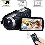 Video Camera Camcorders, VPRAWLS Remote Control Handheld Digital Camera with IR Night Vision, HD 1080P 24.0MP 16X Digital Zoom Video Recorder with 3.0 LCD and 270 Degree Rotation Screen (2 Batteries)