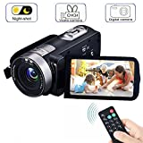 Video Camera Camcorders, VPRAWLS Remote Control Handheld Digital Camera with IR Night Vision, HD 1080P 24.0MP 16X Digital Zoom Video Recorder with 3.0' LCD and 270 Degree Rotation Screen (2 Batteries)
