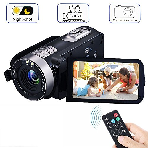 Video Camera Camcorders, VPRAWLS Remote Control Handheld Digital Camera with IR Night Vision, HD 1080P 24.0MP 16X Digital Zoom Video Recorder with 3.0″ LCD and 270 Degree Rotation Screen (2 Batteries)