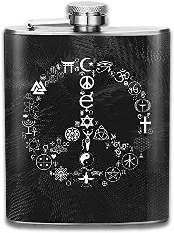 tiao9143 Coexist Vrede Symbool Hip Flask Pocket Roestvrij stalen fles 7 oz Gepersonaliseerde Grappige Fles