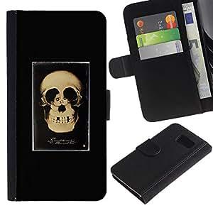 iKiki Tech / Cartera Funda Carcasa - Retro Skull Love Couple Black Poster - Samsung Galaxy S6 SM-G920