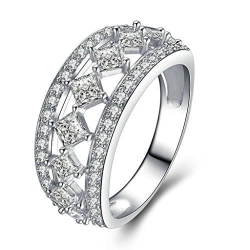 KnSam Sterling Silver Women's Ring Hollow Diamond Shape Wedding Band for Prom Party Size 10