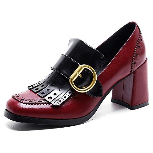 Ladies Tassels Shoes Handmade Pump Chunky Square Seven Heel Burgundy Leather Women's Elegant Toe Genuine Nine zPqTOU8