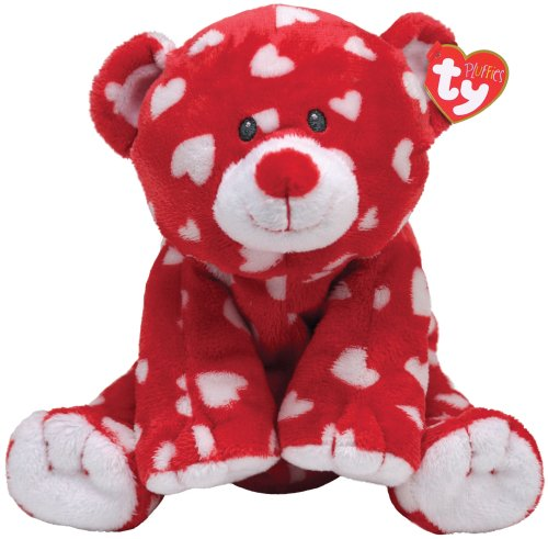 TY Pluffie Dreamly Red Bear with White Hearts