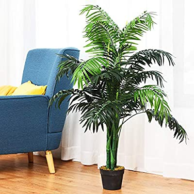 Goplus Fake Tree Artificial Greenery Plants in Nursery Pot Decorative Trees for Home, Office, Lobby