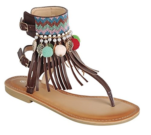 Memphis Fringe Bohemian Jewel Ankle Strap Cuff Tstrap Thong Sandal for Women Ladies Teens Assorted Colors (8, Brown) - Fringe T-strap Sandals