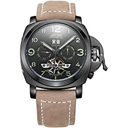 Soleasy Automatic SelfWind Men Alloy CaseMaterial Matte Leather Band Calendar Display Luminous Hands Wrist Watch WTH5295