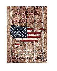 """América el hermoso Patriotic Garden Mapa de la bandera de EE. UU. VACACIONES 12.5x 18"""""""
