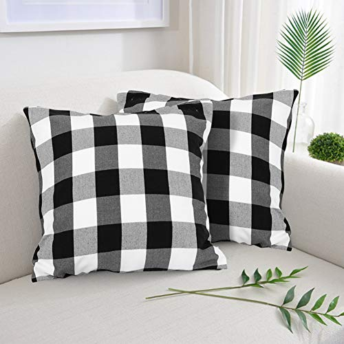 Farmhouse Decor Pillow Covers, Black and White Buffalo Checkers Plaids Cotton Throw Pillow Covers, Soft Cushion Cover Decorative Pillowcase for Bed/Sofa/Chair/Couch, 18