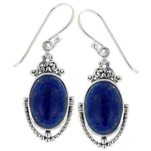 925 Oxidized Sterling Silver Vintage Victorian Style Blue Lapis Dangle Earrings (Vintage Style Earrings)