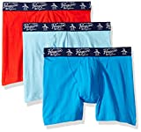 Original Penguin Men's Cotton Basic Underwear 3 Pack Boxer Brief, Blue, Red, Blue, L