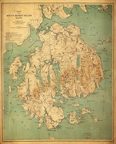Mount Desert Island (Buyartforless Mount Desert Island 24x18 Art Print Posters Vintage Map Maine Nautical MADE IN THE USA)