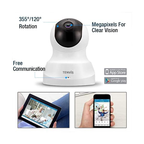 TENVIS HD IP Camera- Wireless Surveillance Camera with Night Vision/  Two-way Audio/ PTZ, 2 4Ghz Wifi Indoor Home Security Dome Camera for Pet  Baby,