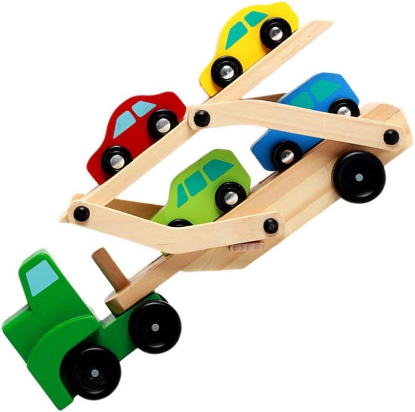 TOYANDONA 1 Juego de Transportador de Coche de Madera Cargador de Coche de Juguete Juguete de Madera Camión de Dos Pisos Remolque Vehículo de Transporte Modelo de Vehículo Juguetes para Niños Pequeños