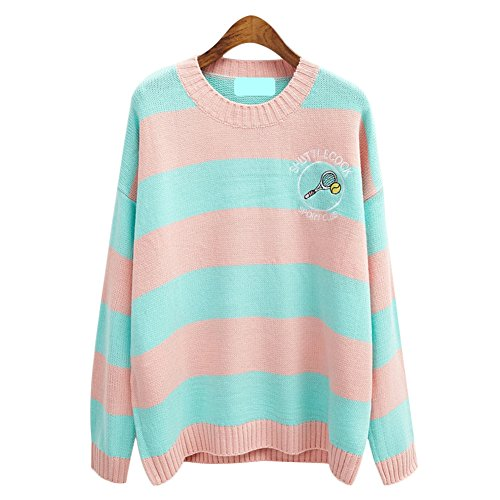 Fashion Women's Harajuku Kawaii Cartoon Pullover Stripes Oversized Sweater (Pink) - Patchwork Embroidered Sweater