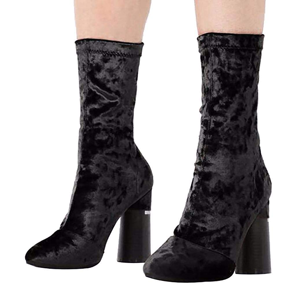 447f3015a09 CAMSSOO Women Pointed Toe Block Heel Short Mid-Calf Boots Stretch Velvet  Chelsea Boots  Amazon.co.uk  Shoes   Bags