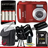 Kodak Easyshare C1505 12 MP Digital Camera with 5x Digital Zoom (Red) 8GB Package 1, Best Gadgets