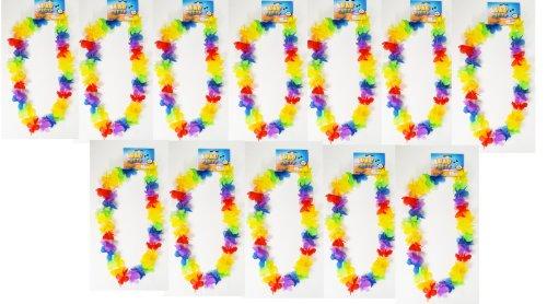 24 Rainbow Flower Leis Luau Hawiian Tropical Party Favor Necklace (Rainbow Leis)